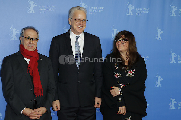 Dieter Kosslick, Tim Robbins and Isabel Coixet attending the &quot;Berlinale Kamera&quot; award at the &quot;Dead Man Walking&quot; screening held at Kino International during 66th Berlinale International Film Festival, Berlin, Germany, 13.02.2016. <br /> Photo by Christopher Tamcke/insight media /MediaPunch ***FOR USA ONLY***