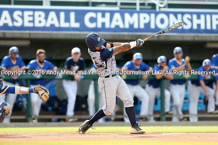 31 May 2016: Nova Southeastern's Kevin Suarez. The Nova Southeastern University Sharks played the Lander University Bearcats in Game 8 of the 2016 NCAA Division II College World Series  at Coleman Field at the USA Baseball National Training Complex in Cary, North Carolina. Nova Southeastern won the game 12-1.