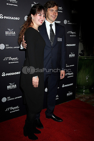 NEW YORK, NY - NOVEMBER 11: Chess Grandmaster Sergey Karjakin  and wife Galia Karjakin at the 2016 World Chess Championship Match Opening Ceremony - The Black & White Gala  in New York, New York on November 11, 2016.  Photo Credit: Rainmaker Photo/MediaPunch