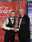 Editor Hubert Murphy presents the January award to Padraic McGroggan at the Drogheda Independent Sports Star Awards in the Westcourt Hotel.  Photo:Colin Bell/pressphotos.ie