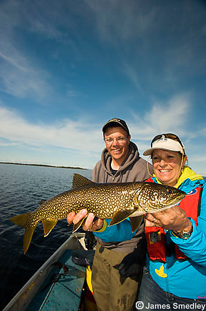 Fishing summer lake trout
