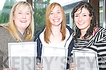 Siobhan Riordan, Regina O'Donoghue and Katie Lucey having a much anticipated peek at their Leaving Cert results at the Presentation Secondary School Listowel on Wednesday morning.   Copyright Kerry's Eye 2008