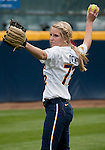 April 15, 2012:  California Bears  Nikki Owens warms up before their game against the Arizona Wildcats during their NCAA softball game played at Levine-Fricke Field on Sunday afternoon in Berkeley, California.  California won the game 6-0.