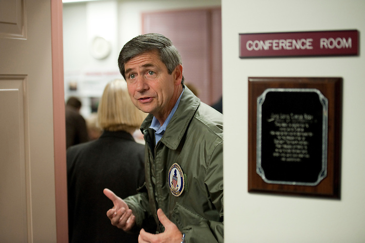 EDGMONT TOWNSHIP, PA - Nov 02: U.S. Rep. Joe Sestak, D-Pa., candidate for U.S. Senate, talks to media as he enters to vote at the Edgmont Township Fire Company. He was fourth in line. His opponent is Republican Pat Toomey.  (Photo by Scott J. Ferrell/Congressional Quarterly)
