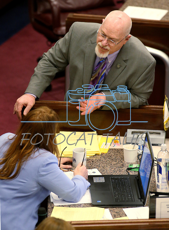 Nevada Assembly Minority Leader Marilyn Kirkpatrick, D-North Las Vegas, and Assemblyman Randy Kirner, R-Reno talk on the Assembly floor at the Legislative Building in Carson City, Nev., on Monday, April 6, 2015. <br /> Photo by Cathleen Allison