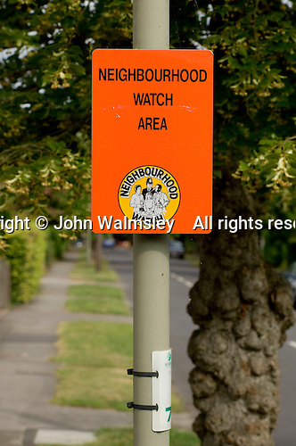 Neighbourhood Watch sign in a reasonably wealthy middle class neighbourhood..