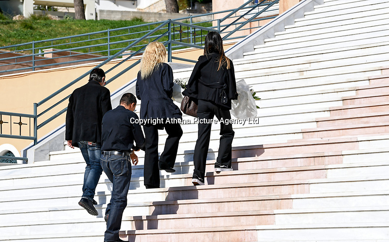 Pictured: Mourners arrive at Agios Nektarios church in Voula, Athens Greece. Sunday 04 November 2018<br /> Re: The funeral of Greek-Australian John Macris, who was shot dead outside his house, to be held at the Agios Nektarios Church in the Voula suburb of Athens, Greece.