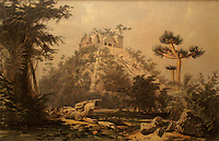 Nineteenth century lithograph entitled El Castillo, Chichen Itza by Frederick Catherwood in the Casa Catherwood in Merida, Yucatan, Mexico.
