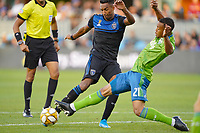 SAN JOSE, CA - SEPTEMBER 30: Jordy Delem #21 of the Seattle Sounders FC defends Danny Hoesen #9 of the San Jose Earthquakes during a Major League Soccer (MLS) match between the San Jose Earthquakes and the Seattle Sounders on September 30, 2019 at Avaya Stadium in San Jose, California.