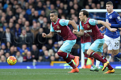 05.03.2016. Goodison Park, Liverpool, England. Barclays Premier League. Everton versus West Ham. Dmitri Payet of West Ham United and Mark Noble of West Ham United race out of defence.