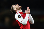 Aaron Ramsey of Arsenal disappointed after missing a chance to get his hat-trick during the UEFA Europa League Quarter-Final 1st leg match at the Emirates Stadium, London. Picture date 5th April 2018. Picture credit should read: Charlie Forgham-Bailey/Sportimage