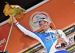 Arnaud Demare (FRA) FDJ celebrates on the podium after winning the 2016 Milan-San Remo race, running 293km from Milan and finishing on the Via Roma, San Remo, Italy. 19th March 2016.<br /> Picture: ANSA/Luca Zennaro | Newsfile<br /> <br /> <br /> All photos usage must carry mandatory copyright credit (© Newsfile | Luca Zennaro)