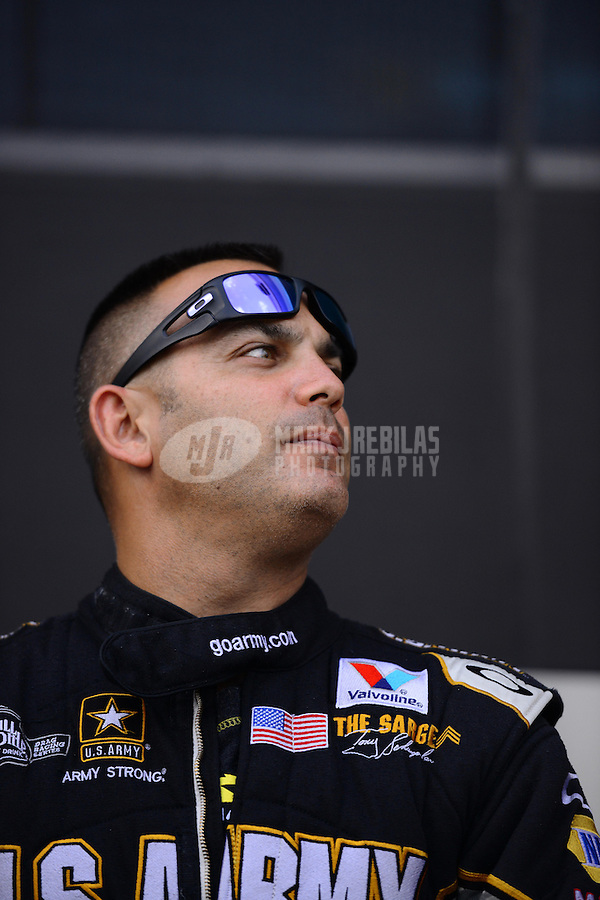 Sept. 14, 2012; Concord, NC, USA: NHRA top fuel dragster driver Tony Schumacher during qualifying for the O'Reilly Auto Parts Nationals at zMax Dragway. Mandatory Credit: Mark J. Rebilas-