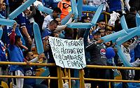 BOGOTÁ - COLOMBIA, 09–03-2019: Hinchas de Millonarios animan a su equipo durante partido de la fecha 9 entre Millonarios y Atlético Nacional por la Liga Águila I 2019, jugado en el estadio Nemesio Camacho El Campín de la ciudad de Bogotá. / Fans of Millonarios cheer for their team during a match of the 9th date between Millonarios and Atletico Nacional, for the Aguila Leguaje I 2019 played at the Nemesio Camacho El Campin Stadium in Bogota city, Photo: VizzorImage / Luis Ramírez / Staff.
