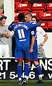 Michael Bostwick of Stevenage is congratulated after scoring their equaliser. - Walsall v Stevenage - npower League 1 - Banks's Stadium, Walsall - 24th March, 2012  .© Kevin Coleman 2012