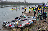 Greater London. United Kingdom, CUBC, come a shore, celebrating University Boat Race , Cambridge University vs Cambridge University Putney to Mortlake,  Championship Course, River Thames, London. <br /> <br /> Saturday  24.03.18<br /> <br /> [Mandatory Credit:Peter SPURRIER/Intersport Images]
