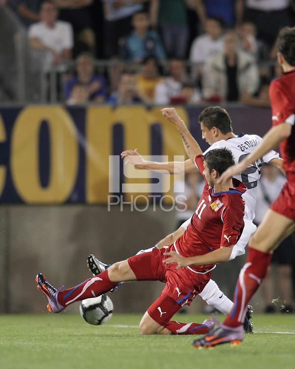 Czech Republic midfielder Daniel Pudil (11) blocks USA midfielder Alejandro Bedoya (28) shot. In the Send Off Series, the Czech Republic defeated the US men's national team, 4-2, at Rentschler Field in East Hartford, Connecticut, on May 25, 2010.