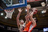 VALENCIA, SPAIN - NOVEMBER 3: Benjamin Ortner, Rafa Martinez during EUROCUP match between Valencia Basket Club and CAI Zaragozaat Fonteta Stadium on November 3, 2015 in Valencia, Spain