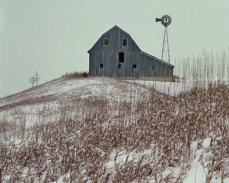 Old barn in winter light on a farm in Bureau County, IL