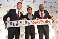 Philadelphia, PA - Thursday January 19, 2018: Jesse Marsch, Niko DeVera, Denis Hamlett during the 2018 MLS SuperDraft at the Pennsylvania Convention Center.
