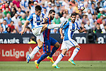 Unai Bustinza of Deportivo Leganes fights for the ball with Arda Turan of FC Barcelona during their La Liga match between Deportivo Leganes and FC Barcelona at the Butarque Municipal Stadium on 17 September 2016 in Madrid, Spain. Photo by Diego Gonzalez Souto / Power Sport Images