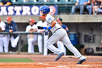 Kingsport Mets third baseman Rigoberto Terrazas (5) runs to first base during a game against the Greeneville Astros at Pioneer Park on July 1, 2017 in Greeneville, Tennessee. The Astros defeated the Mets 6-2. (Tony Farlow/Four Seam Images)