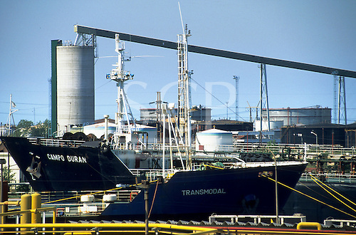 """Buenos Aires, Argentina. Port with cargo ships """"Transmodal"""" and """"Campo Duran"""" with petrochemical and bulk storage facilities."""