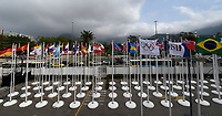 Rio de Janeiro. BRAZIL.  Nations flags caught in the wind as the storm which has hit the 2016 Olympic Rowing Regatta. Lagoa Stadium,<br /> Copacabana,  &ldquo;Olympic Summer Games&rdquo;<br /> Rodrigo de Freitas Lagoon, Lagoa.   Sunday  07/08/2016 <br /> <br /> [Mandatory Credit; Peter SPURRIER/Intersport Images]