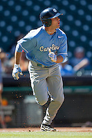 North Carolina Tar Heels outfielder Chaz Frank #2 hustles down the first base line against the California Golden Bears in the NCAA baseball game on March 2nd, 2013 at Minute Maid Park in Houston, Texas. North Carolina defeated Cal 11-5. (Andrew Woolley/Four Seam Images).