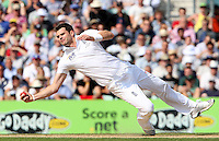 James Anderson of England completes the caught and bowled of David Warner - England vs Australia - 5th day of the 5th Investec Ashes Test match at The Kia Oval, London - 25/08/13 - MANDATORY CREDIT: Rob Newell/TGSPHOTO - Self billing applies where appropriate - 0845 094 6026 - contact@tgsphoto.co.uk - NO UNPAID USE