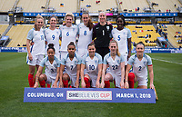 Columbus, OH - March 1, 2018: England defeated France 4-1 during the first match of the SheBelieves Cup at Mapfre Stadium.