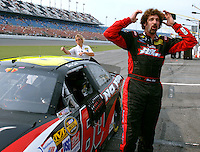 Nextel Cup Series driver Boris Said reacts after climbing from his racecar and finding he posted the fastest qualifying time for the Pepsi 400 at Daytona International Speedway in Daytona Beach, Fl. (The Florida Times-Union, Rick Wilson)