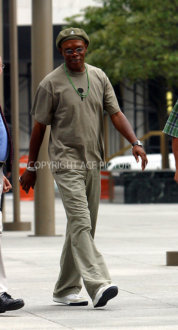 Samuel L. Jackson strolling in New York. August 5, 2003...Please byline: NY Photo Press.   ..*PAY-PER-USE*      ....NY Photo Press:  ..phone (646) 267-6913;   ..e-mail: info@nyphotopress.com