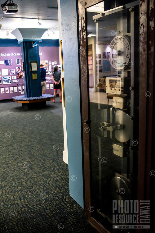This old safe came with the building that is now the permanent site for the Pacific Tsunami Museum in Hilo, Big Island of Hawai'i. First Hawaiian Bank, which used to have a branch there, donated the building to the museum in 1997.