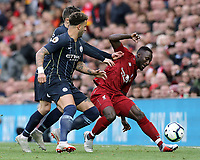 Liverpool's Naby Keita battles with Manchester City's Bernardo Silva and Kyle Walker<br /> <br /> Photographer Rich Linley/CameraSport<br /> <br /> The Premier League - Liverpool v Manchester City - Sunday 7th October 2018 - Anfield - Liverpool<br /> <br /> World Copyright &copy; 2018 CameraSport. All rights reserved. 43 Linden Ave. Countesthorpe. Leicester. England. LE8 5PG - Tel: +44 (0) 116 277 4147 - admin@camerasport.com - www.camerasport.com