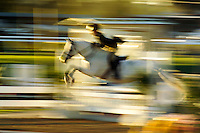 Young rider takes a fence in event competition..