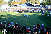 The 18th green during the Sunday singles matches of the 39th Ryder Cup at Medinah Country Club, Chicago, Illinois .(Photo Colum Watts/www.golffile.ie)