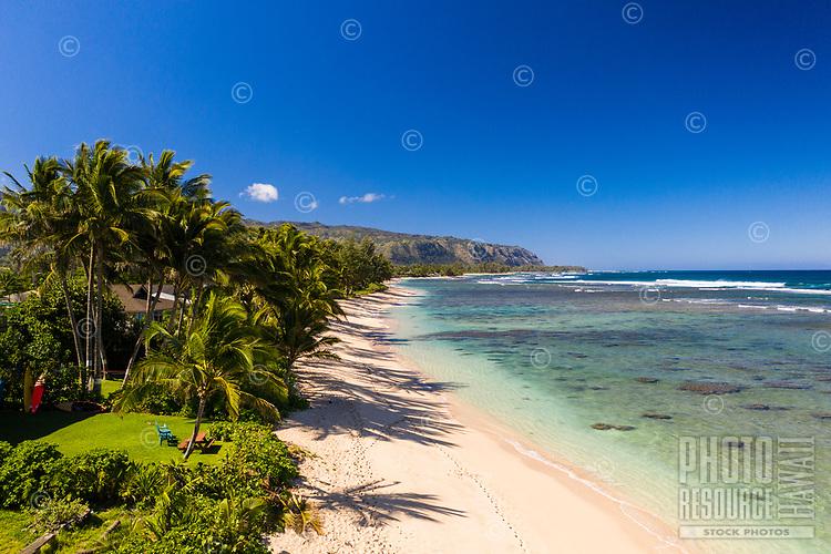 Aerial view of Mokule'ia Beach near Crozier Drive, Waialua, O'ahu.