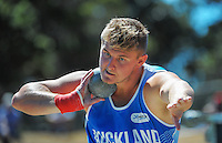 Auckland's Matthew Bloxham competes in the senior men's shot put on day three of the 2015 National Track and Field Championships at Newtown Park, Wellington, New Zealand on Sunday, 8 March 2015. Photo: Dave Lintott / lintottphoto.co.nz