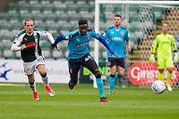 Devante Cole of Fleetwood Town gets away from Oscar Threlkeld of Plymouth Argyle during the Sky Bet League 1 match between Plymouth Argyle and Fleetwood Town at Home Park, Plymouth, England on 7 October 2017. Photo by Mark  Hawkins / PRiME Media Images.