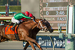 ARCADIA, CA   FEBRUARY 3 : #5 Itsinthepost, ridden by Tyler Baze, narrowly edges out #7 Hayabusa One, ridden by Victor Espinoza, and wins the San Marcos Stakes (Grade ll) on February 3, 2018 at Santa Anita Park in Arcadia, CA.(Photo by Casey Phillips/ Eclipse Sortswire/ Getty Images)