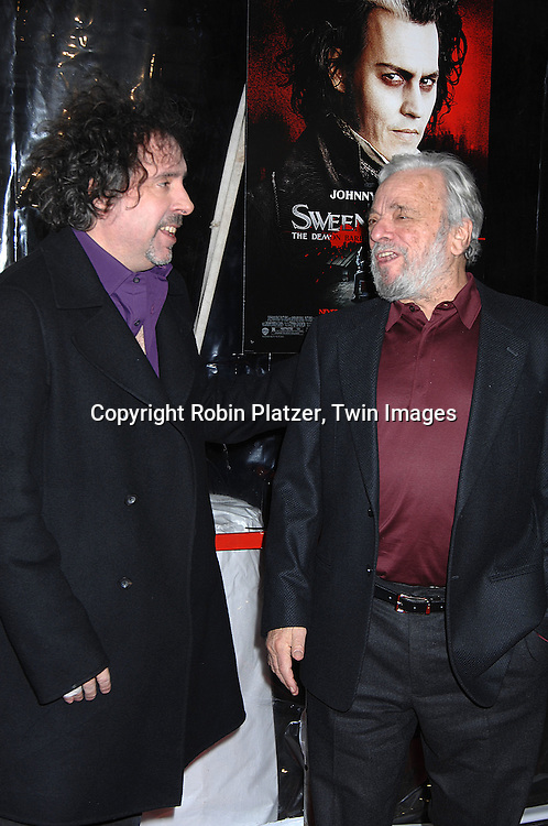 """Tim Burton and Stephen Sondheim.arriving at the New York Premiere of """"Sweeney Todd"""" starring Johnny Depp on December 3, 2007 at The Ziegfeld Theatre in New York City. .Robin Platzer, Twin Images"""