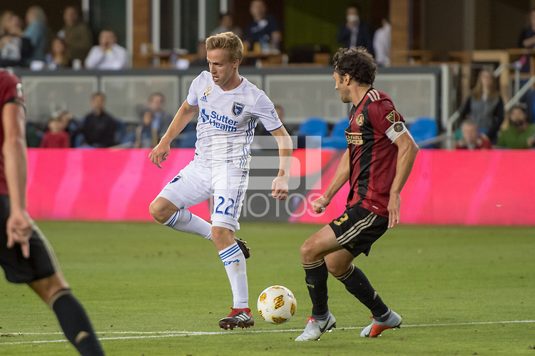 San Jose, CA - Monday January 04, 2016: Tommy Thompson during a Major League Soccer (MLS) match between the San Jose Earthquakes and Atlanta United FC at Avaya Stadium.
