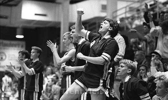Boys on the bench cheering. Mountain View vs. Timpview basketball.<br />
