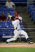 Binghamton Rumble Ponies second baseman L.J. Mazzilli follows through on a swing during a game against the Altoona Curve on May 17, 2017 at NYSEG Stadium in Binghamton, New York.  Altoona defeated Binghamton 8-6.  (Mike Janes/Four Seam Images)