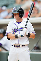 Adam Heisler (2) of the Winston-Salem Dash waits for his turn to bat against the Myrtle Beach Pelicans at BB&T Ballpark on July 7, 2013 in Winston-Salem, North Carolina.  The Pelicans defeated the Dash 4-2 in game one of a double-header.  (Brian Westerholt/Four Seam Images)