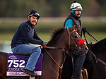 October 29, 2019 : Breeders' Cup Juvenile Fillies entrant Comical, trained by Doug F. O'Neill, exercises in preparation for the Breeders' Cup World Championships at Santa Anita Park in Arcadia, California on October 29, 2019. Carolyn Simancik/Eclipse Sportswire/Breeders' Cup/CSM