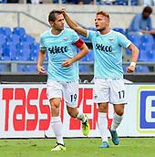 September 10th 2017, Olimpic Stadium, Rome, Italy; Serie A football league, Lazio versus AC Milan;  Goal celebration for Lazio from Lulic and Immobile who scored a hat-trick in a period of 10 minutes