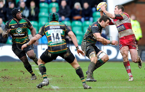 26.02.2011 Aviva Premiership Rugby from Franklin's Gardens. Northampton Saints v Gloucester Rugby. Northampton Saints Flanker (#7) Phil Dowson comes in for the tackle in the second half