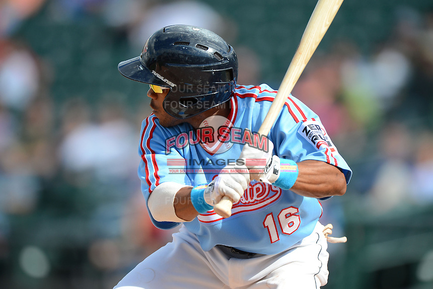 Rochester Red Wings outfielder Antoan Richardson #16 during a game against the Gwinnett Braves on June 16, 2013 at Frontier Field in Rochester, New York.  Rochester defeated Gwinnett 6-3.  (Mike Janes/Four Seam Images)